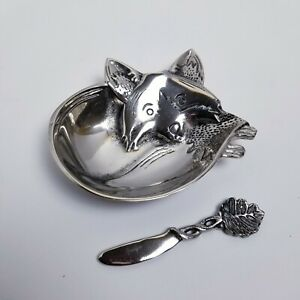 Pier 1 Silver Fox Shaped Dip Set Bowl with Knife Condiment Serving Décor