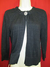 JENNIFER LOPEZ RELAXED GLAMOUR Open Front Black Metallic Sweater M NWT