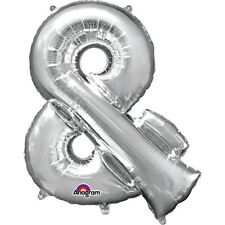 "Symbol & Ampsersand Silver Foil Balloon 16"" 40cm Air Age Birthday Anniversary"