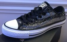 New Converse All Star Chuck Taylor Low SEQUIN Ox Black Silver Shiny Women's 7.5