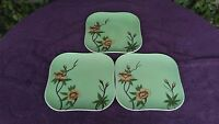 """Weil Ware Rose Green Hand Decorated Square Dinner Plates Green 9.5"""" Set of 4"""
