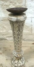Antique Indian Pillar Wood Carved Vintage Candle stand holder Raw white C