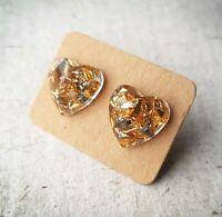Beautiful Resin Stud Earrings | Colourful Heart Glitter Jewellery Gift