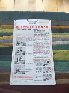 """Vintage industrial sign """"Treatment For  ELECTRIC SHOCK """""""