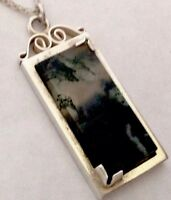 BEAUTIFUL VINTAGE HM SILVER & FERN MOSS AGATE PENDANT CHAIN NECKLACE Gift Boxed