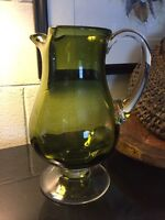 """ART GLASS Green Optic Footed 10 1/2"""" PITCHER with Clear Handle & Base"""