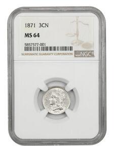 1871 3cN NGC MS64 - 3-Cent Nickel