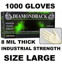 DIAMOND BACK Latex Exam Gloves, Textured Grip, 8 mil, Case of 1000, Size LARGE