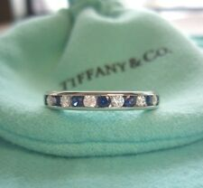 TIFFANY & Co Platinum 3mm Channel-set Half Circle Diamond Sapphire Band Ring 7.5