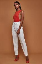 Women Tie Belt Fit Skinny Pants High Waist OL Ladies Career Long Trousers New