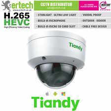 TIANDY H.265 STARLIGHT 2MP 1080P WDR MIC AUDIO SD-CARD VCA POE SMART IP CAMERA
