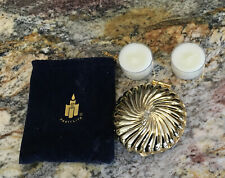 Party Lite Gold Shell Tealight Candle Holder Clam Travel Compact W/ Bag, Retired