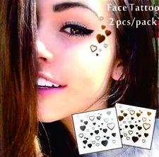 Gesicht Augen Tattoo Aufkleber Temporäre Tattoos 2er Packung f02 Gold & SILBER