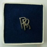 Rolls Royce RR logo Tie Pin Boxed Vintage silver plated