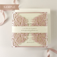 Blush Pink & Cream Luxury Gatefold Laser Wedding Invitation+ RSVP -*SAMPLE ONLY*