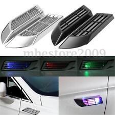 2x LED Wireless Solar Car Power False Warning Light Air Intake Flow Vent Decor