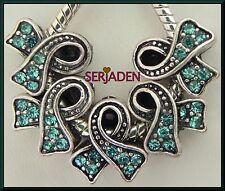 5 Blue Aqua Stone Awareness Ribbon Fit European Jewelry 12 * 13 & 5 mm Hole R097