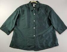 Coldwater Creek Women Long Sleeve Button Down Shirt 2X Metallic Green Stripes