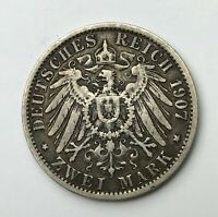 Dated : 1907 A - Silver Coin - Germany - 2 Mark - Prussia - Wilhelm II