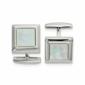 Chisel Stainless Steel Polished Mother of Pearl Square Cufflinks MSRP$126