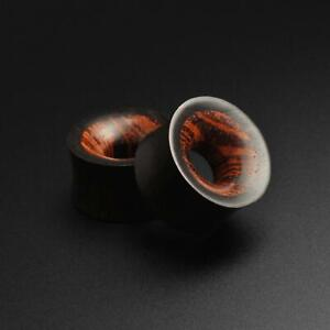 Wooden Flesh Tunnels | Areng Wood Double Flare Tunnel With Rangas Wood Inlay
