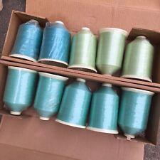 VTG SEWING THREAD NYLON Coats American GREEN Bobbins Lot OF 10 NOS