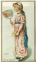ANTIQUE VICTORIAN BLONDE HAIR GIRL EVENTAIL FAN DRESS LOVED ONE CHROMO ART PRINT