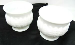 """2 """"RANDALL"""" HOBNAIL MILKGLASS PLANTER - 4 1/4"""" TALL, 4 1/2"""" IN DIA. - EXC. COND."""