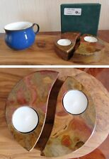 x 2 onyx marble tea light candle holder - home garden party & barbeque fab gift
