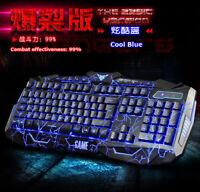 Blue Light USB Wired LED Illuminated Backlit Pro Gaming Keyboard + Mouse Set US
