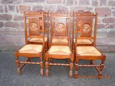 6 Alte & schöne bretonischer Figuren eiche Stühle aus Frankreich