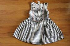 NWT Gymboree Animal Party Black Stripe Dress with Neon Coral Pom Pom Trim Size 4