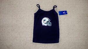 Women's Navy Blue Spaghetti Top NFL Miami Dolphins Helmet w/Glitter L Reebok NWT
