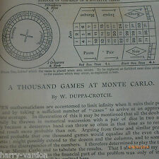 Casino Roulette System Analysis Monte Carlo Salon de Jeu Gambling 1891 Victorian