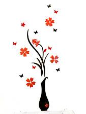 3D Acryl Blume 80x40 Aufkleber Sticker Wandtattoo Wanddeko Wandbild Vase