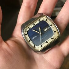 Poljot Quartz 3050 Rare Vintage Soviet Watch 1970s Men's Square Dial Day Date SU