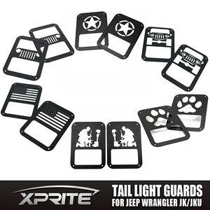 Xprite Rear Tail Light Metal Logo Cover Guard for 2007- 2018 Jeep Wrangler JK