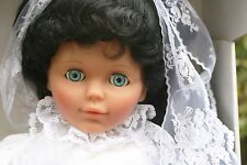 Lissi Batz Doll Blue Sleepy Eyes Wedding Dress Bride Veil Button Brooch Germany