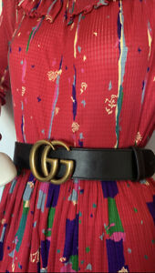 Gucci Double G Wide Leather Belt 65cm