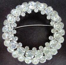 """Huge 2 3/4"""" Sparkling Ice Rhinestone Ring Vintage Pin"""