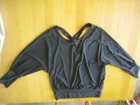 maglia blusa shirt donna bambina grigio scuro antracite incrociata taglia unica
