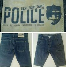 Police 883 Mens Blue Denim Cargo Button Fly Tapered Shorts  W32 Style : Howard