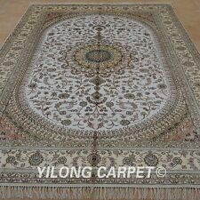 YILONG 6'x9' HandKnotted Silk Oriental Rug Home Decor White Carpet 1209