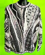 VTG 90s Tundra Bachrach Multi-Color Coogi Style Sweater 3D Abstract Men's L