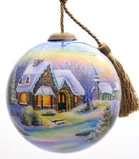 0198 Christmas Village Cottage Hand Painted Inside Glass Ornament First Snow