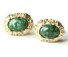 Anson Green Cabochon Cuff Links Gold Tone Textured Oval Frame