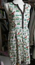 Ladies ANIMAL FARMYARD Cotton Cath Kidston HORSE DUCK COW Tea Dress UK 10