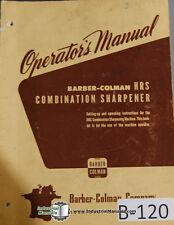 Barber Colman Model Hrs Combination Sharpener Operators Manual Year 1938