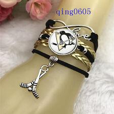 Pittsburgh Penguins hockey NHL Glass Cabochon Infinity Handmade Bracelets NEW