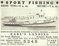 "NEWPORT BEACH Sport Fishing Ad Earl's Landing VINTAGE Photo Print 1473 11"" x 14"""